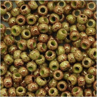 Toho Round Seed Beads 8/0 1209 'Marbled Opaque Avocado/Pink' 8 Gram Tube