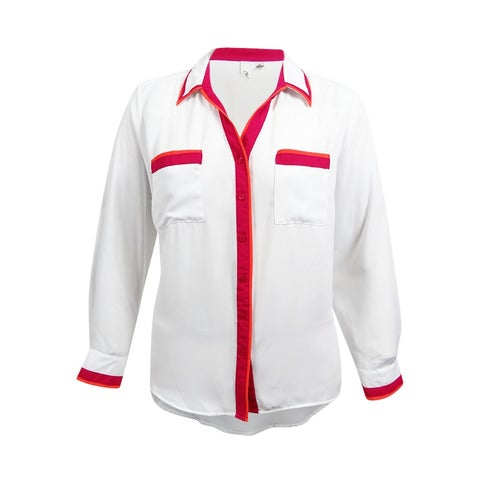 NY Collection Women's Colorblocked Utility Blouse (XL, White Combo) - White Combo - XL
