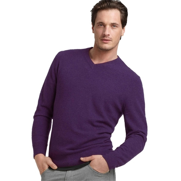 21b1f00f740 Bloomingdales Mens 2-Ply Cashmere V-Neck Sweater Medium XXL Plum Knitwear