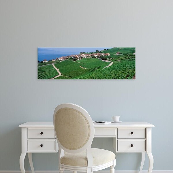 Easy Art Prints Panoramic Images's 'Lake Of Geneva, Vineyards, Rivaz, Switzerland' Premium Canvas Art