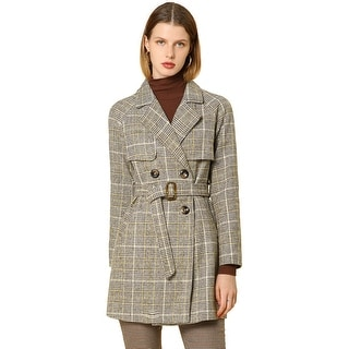 Link to Women' Raglan Sleeve Belted Notched Lapel Plaids Trench Coat - Brown Similar Items in Women's Outerwear