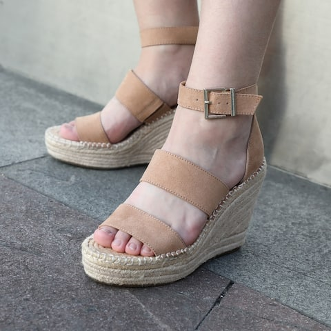 Open Toe Casual Ankle Strap Sandals with Adjustable Buckle,Sand Color