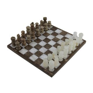 Brown and White Marble and Onyx Chess Set 10 3/4 Inch Board - Multicolored|https://ak1.ostkcdn.com/images/products/is/images/direct/79c51202734f63f0b44eb6e0f7f13781a870a42a/Brown-and-White-Marble-and-Onyx-Chess-Set-10-3-4-Inch-Board.jpg?impolicy=medium