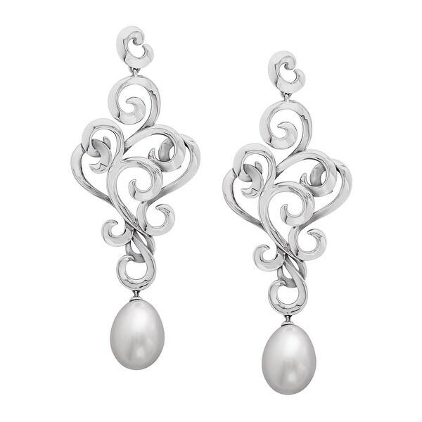 Evert DeGraeve Freshwater Pearl Filigree Drop Earrings in Sterling Silver