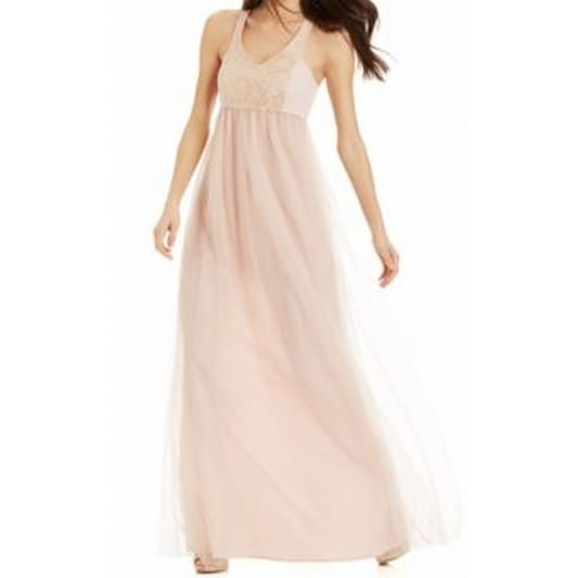 3e866fca9c7 Shop BCBG Generation NEW Blush Gold Lace 10 Women s Empire Waist Tulle Gown  - Free Shipping On Orders Over  45 - Overstock - 18359545