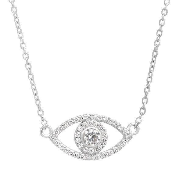 Evil Eye Necklace with Cubic Zirconia in Sterling Silver - White