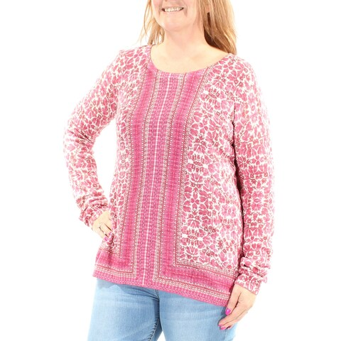 LUCKY BRAND Womens Pink Floral Long Sleeve Jewel Neck Top Size: M