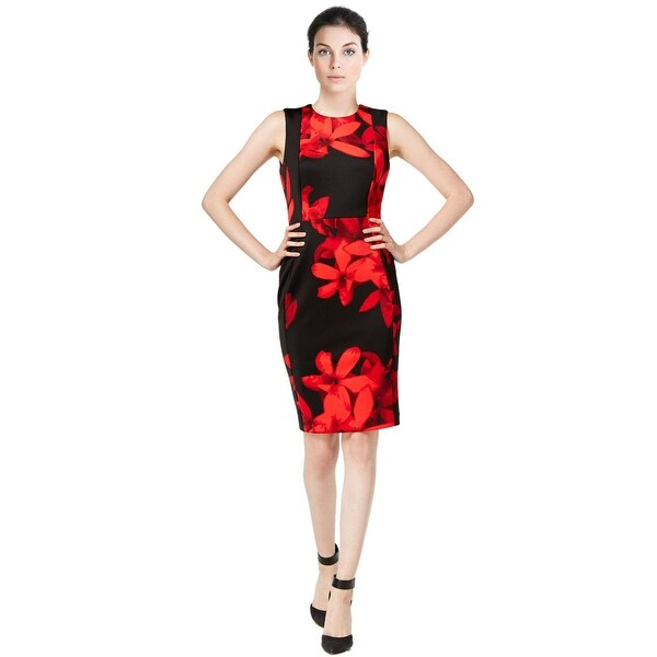 Calvin Klein Floral Print Sleeveless Sheath Dress - 14