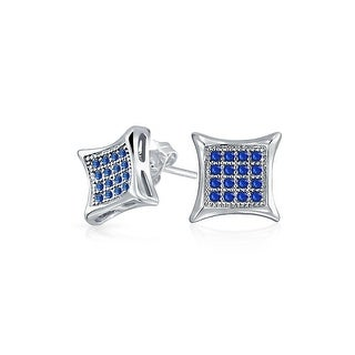 Bling Jewelry Mens Sterling Silver and Imitation Sapphire Kite Micro Pave CZ Stud Earrings 7mm