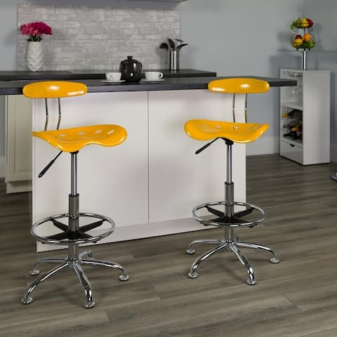 Vibrant Chrome Drafting Stool with Tractor Seat