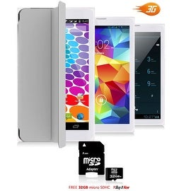 """Indigi® 7.0"""" HD Unlocked 3G (2-in-1)Android 4.4 SmartPhone & TabletPC w/ Built-in Smart Cover + 32gb microSD (Grey)"""