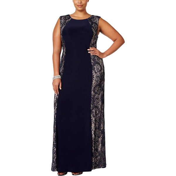 R&M Richards Womens Plus Evening Dress Sequined Sleeveless