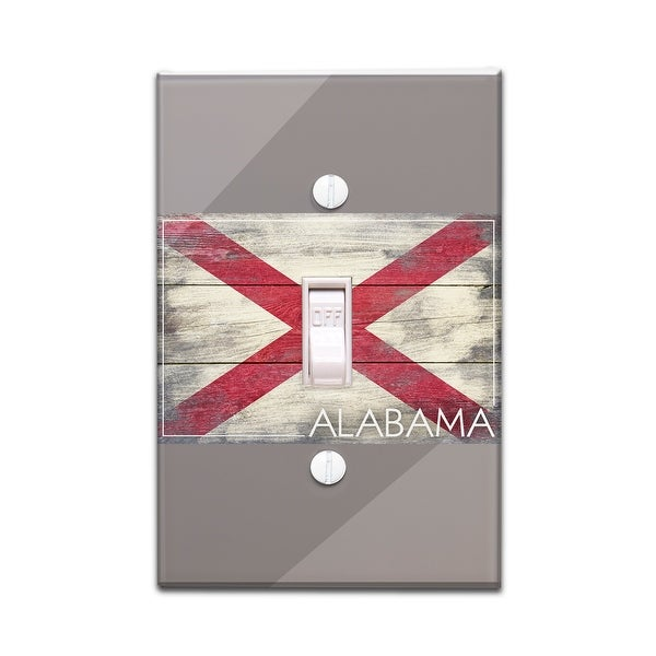 Alabama Rustic Flag Lantern Press Artwork Light Switchplate Cover