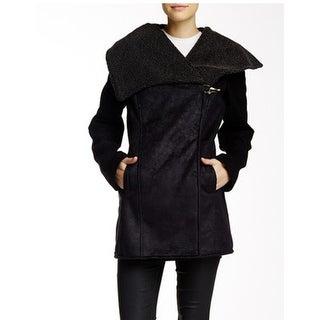 Sam Edelman Women's Medium Claire Faux Suede Fur Shearling Black Jacket