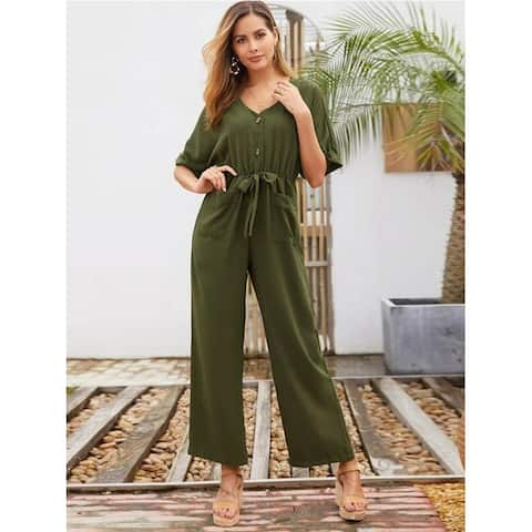 Dazzling Army Green Tie Jumpsuit V Collar Solid Color Holiday