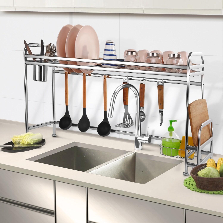 Agptek Stainless Steel Dish Rack Kitchen Organizer Kitchen Sink Countertop M Overstock 31881273