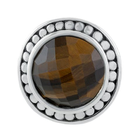 Sterling Silver Electroform Faceted Round Tigers Eye Stone Ring