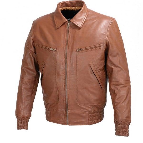 Mens Bomber Leather Fashion Jacket Brown FJ3