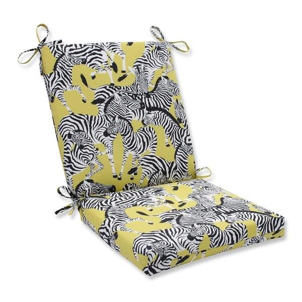 36.5u201d Zealous Zebras On Yellow Outdoor Patio Chair Cushion With Ties   Black