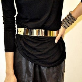 New Fashion Womens Elastic Gold Plated Metal Waist Leather Belt Wide Obi Band
