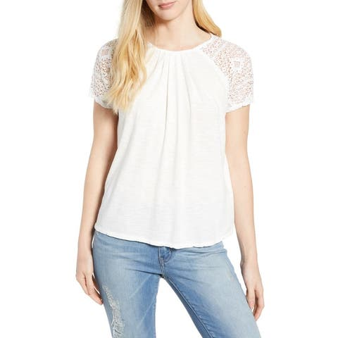Lucky Brand Women's LACE Sleeve TOP, Marshmallow, L