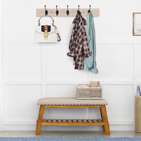 Wall-Mounted Farmhouse Coat Rack, 5 Standard Hooks,Natural