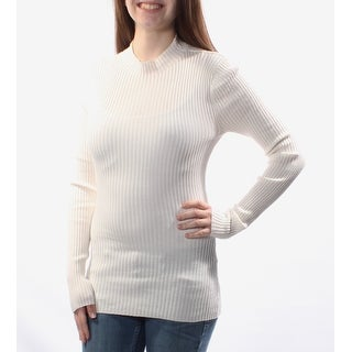 Womens White Striped Long Sleeve Turtle Neck Sweater Size XS