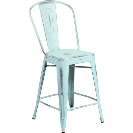 Brimmes 24'' High Distressed Green-Blue Metal Indoor/Outdoor/Patio/Bar Counter Height Stool w/Back