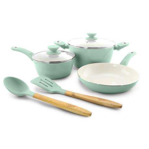 Plaza Cafe 7pc Cookware Set, Sky Blue