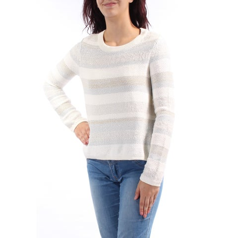 KIIND OF Womens Ivory Glitter Striped Long Sleeve Jewel Neck Sweater Size: M