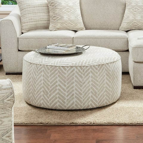 Furniture of America Stonefield Transitional Ivory Chenille Ottoman