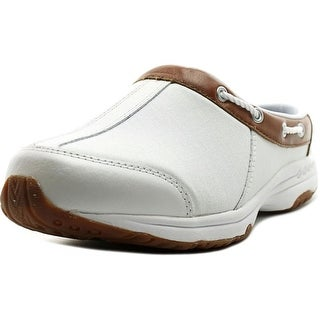 Easy Spirit Travel Port Women WW Round Toe Leather White Mules