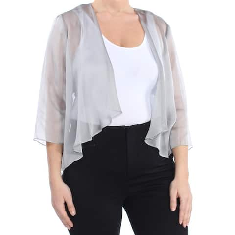 SLNY Womens Gray Sheer Open Cardigan Wear to Work Top Size 12