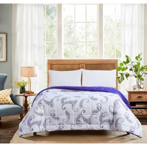 All Seasons Paisley Print Down Alternative King Comforter 110x96 Blue