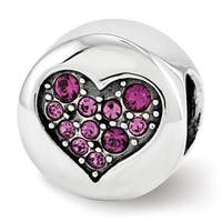 Sterling Silver Reflections Swarovski Elements Feb-Peace Bead (4mm Diameter Hole)