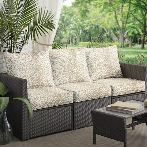 Sunbrella Tan Leopard Indoor/Outdoor Deep Seating Sofa Set, Corded