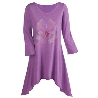 Women's Tunic Top - Dragonfly Print 100% Cotton Butterfly Hem - Lavender