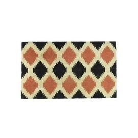 """Black Burnt Orange and Cream Coir Tribal Outdoor Rectangular Door Mat 29.5"""" x 17.75"""""""