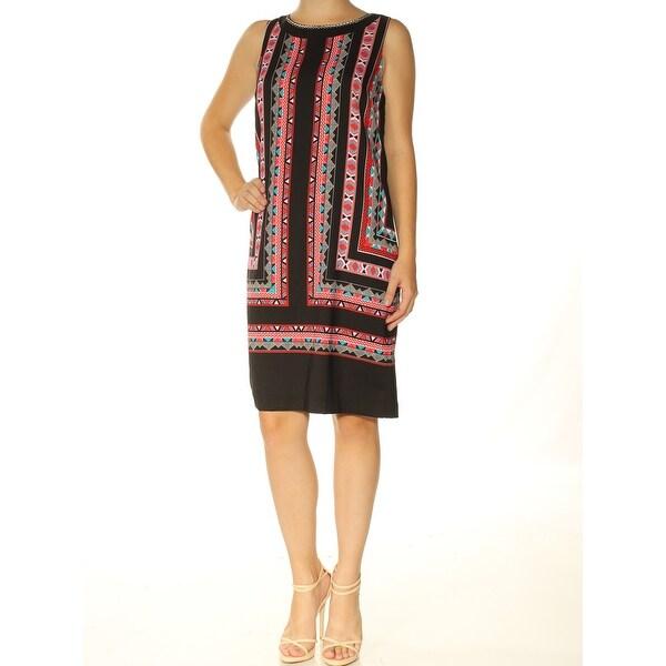 VINCE CAMUTO Womens Black Printed Sleeveless Jewel Neck Knee Length Shift Dress Size: 0