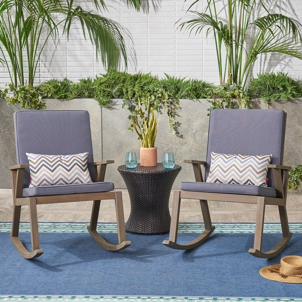 Champlain Outdoor Acacia Wood Rocking Chair with Water-Resistant Cushions (Set of 2) by Christopher Knight Home
