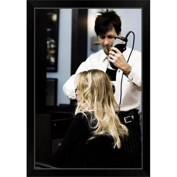 """Hair stylist with client"" Black Framed Print"