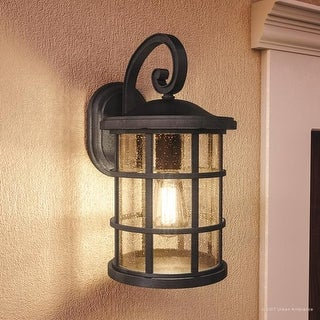 """Luxury Craftsman Outdoor Wall Light, 17.75""""H x 10""""W, with Tudor Style, Wrought Iron Design, Natural Black Finish"""