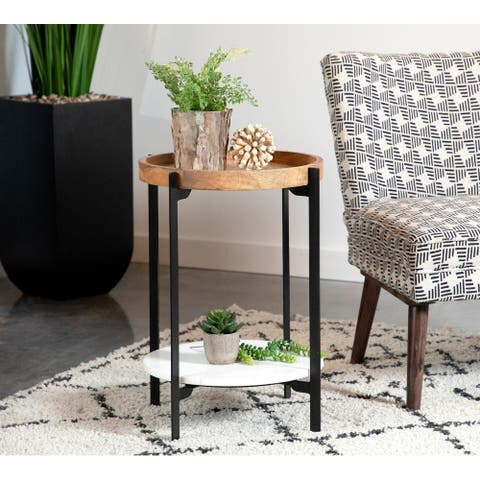 Natural and Black Round Shelf Accent Table