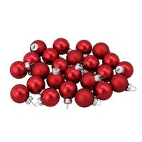 """24ct Burgundy Red Shiny and Matte Christmas Glass Ball Ornaments 1"""" (25mm)"""