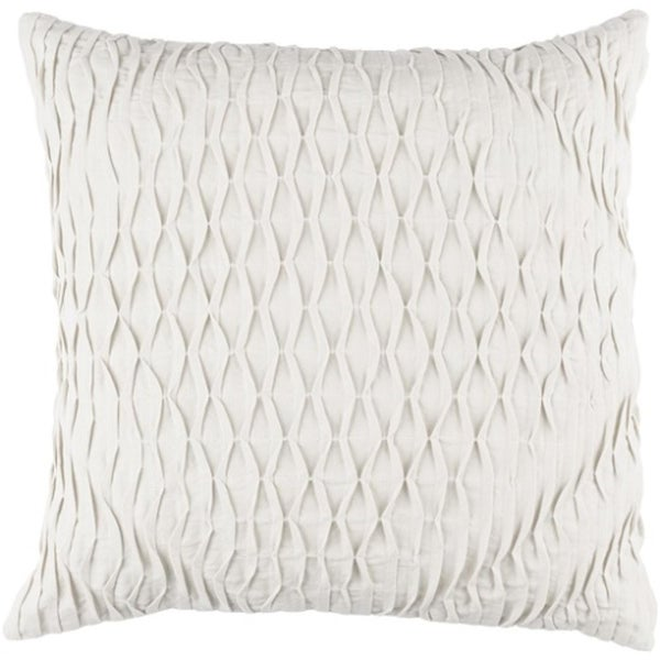 "20"" Mist Gray Woven Pinched Diamond Decorative Square Throw Pillow - Down Filler"