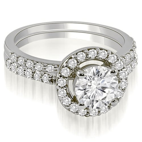 1.11 cttw. 14K White Gold Halo Round Cut Diamond Bridal Set
