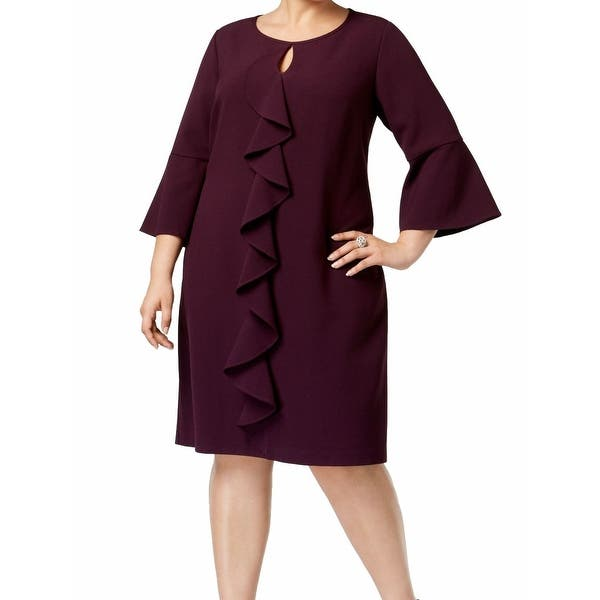Jessica Howard Womens Dress Purple Plum Size 16W Plus Sheath Ruffle