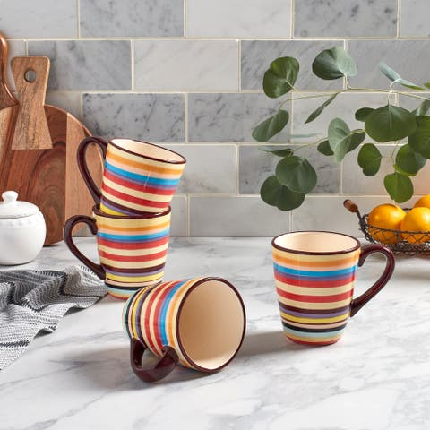 "Tabletops Gallery Sedona Stripe 16oz ""V"" Shaped Mug - Set of 4"