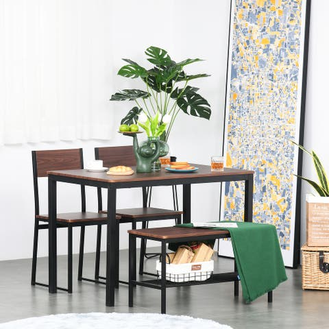 HOMCOM 4-Piece Industrial Dining Table Set with Table, 2 Chairs, Storage Rack, and Bench, for Dining Room, Black/Brown