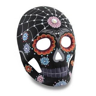 Colorful Black Floral Spiderweb DOD Sugar Skull Style Jeweled Mask
